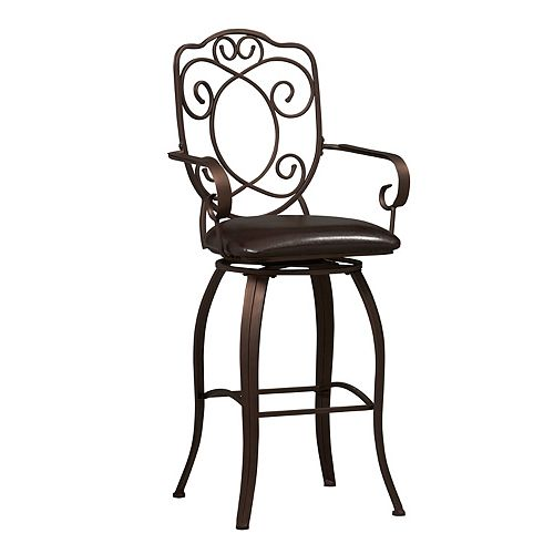 Crested Back Metal Black Traditional Full Back Bar Stool with Espresso Faux Leather Seat