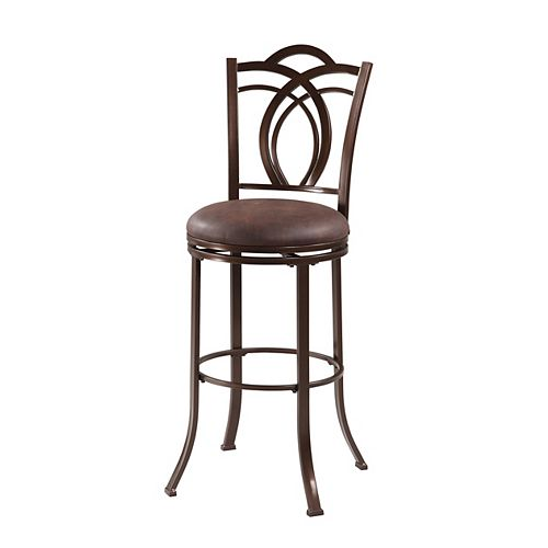 Linon Home Decor Calif Metal Brown Traditional Full Back Armless Bar Stool with Brown Faux Leather Seat