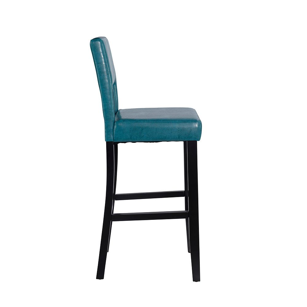 Linon Home Decor Solid Wood Black Traditional Full Back Armless Bar Stool with Blue Faux Leather Seat