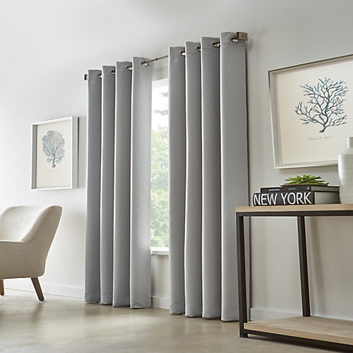 Cut Diamond Woven Blackout Grommet Curtain 52 inches width X 95 inches length, Grey
