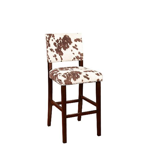 Corey Manufactured Wood Brown Contemporary Full Back Armless Bar Stool with Brown Microfibre Seat