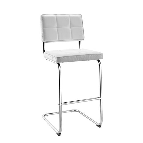 Metal Chrome Modern Full Back Armless Bar Stool with White Faux Leather Seat