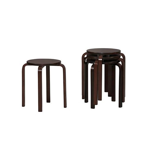 Linon Home Decor Wenge Bentwood Stool Multipurpose Stool (Set of 2)