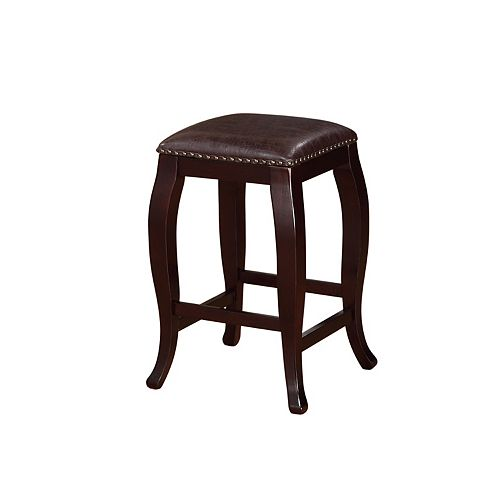 Linon Home Decor San Francisco Manufactured Wood Espresso Backless Armless Bar Stool with Brown Faux Leather Seat