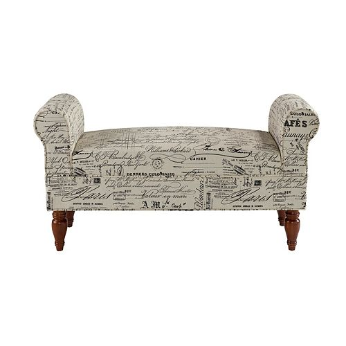 Linon Home Decor Double Rolled Linen Script Arm Bench