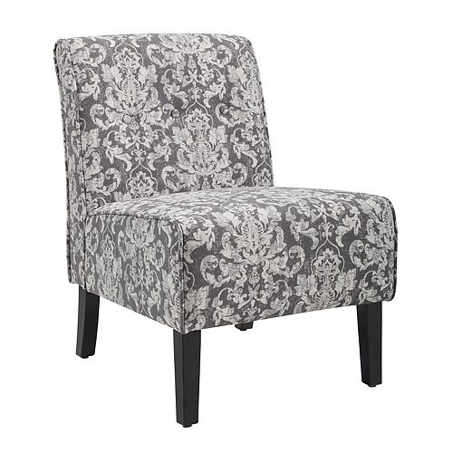 Modern Polyester/Polyester Blend Armless Accent Chair in Grey