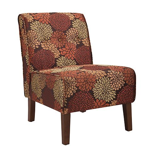 Harvest Modern Polyester/Polyester Blend Armless Accent Chair in Red