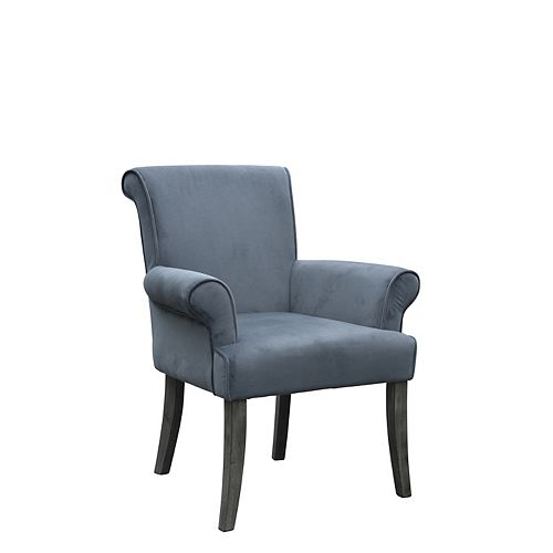 Traditional Microfibre Accent Chair in Grey