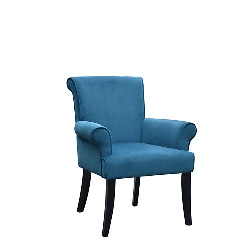 Contemporary Occasional Microfibre Accent Chair in Blue with Solid Pattern