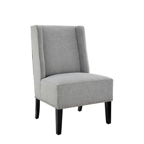 Contemporary Wingback Polyester/Polyester Blend Armless Accent Chair in Grey with Solid Pattern