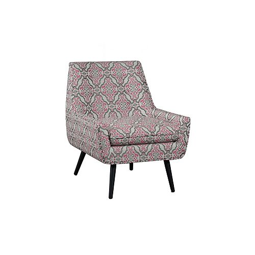 Pink Modern Occasional Polyester/Polyester Blend Accent Chair in Pink with Geometrical Pattern