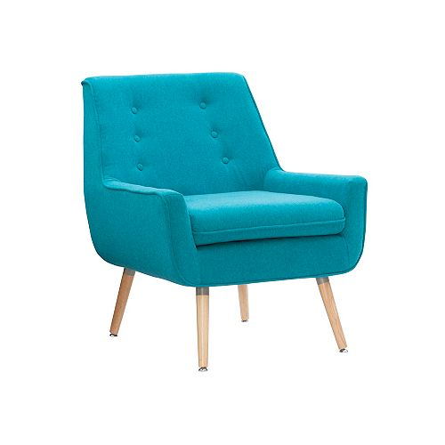 Modern Occasional Polyester/Polyester Blend Accent Chair in Blue with Solid Pattern