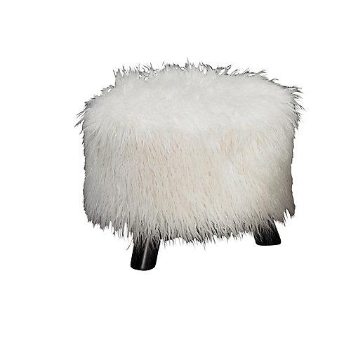 Pouf Fun Faux Fur, 16po x 12,60po x 16po, polyester/mélange de polyester, blanc