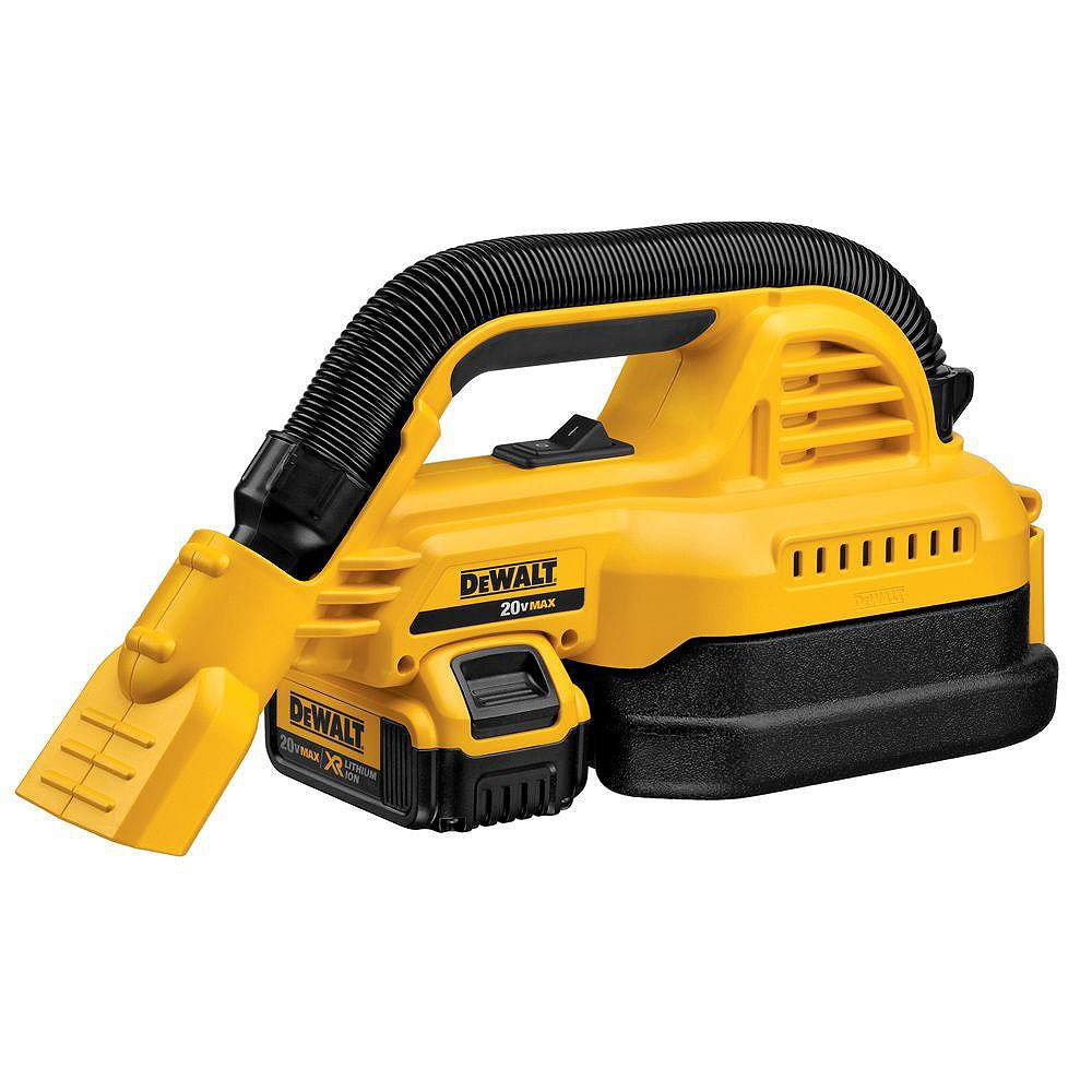 DEWALT 20V MAX Lithium-Ion 1/2 Gal. Wet/Dry Portable Vacuum Kit with 4Ah Battery and Charger