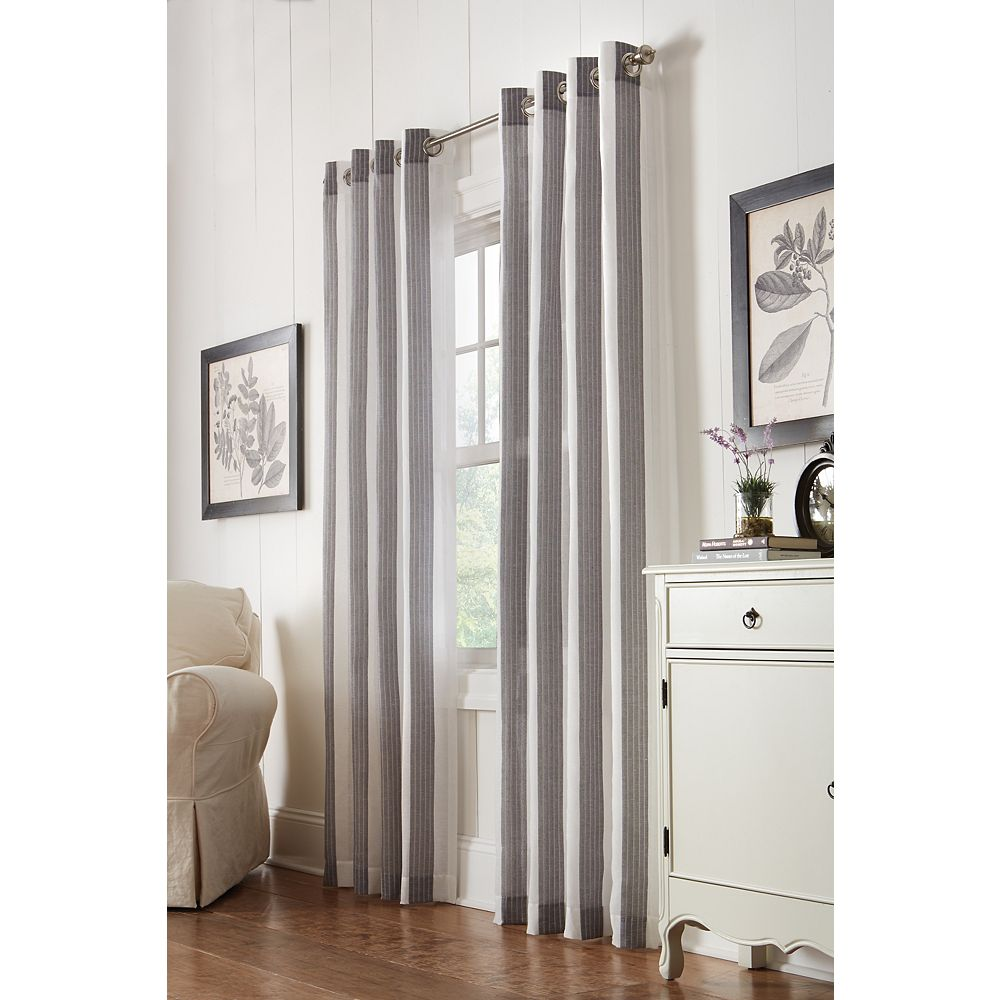 Home Decorators Collection Grey, Faux Linen, Semi Sheer, Grommet, 52 Inch X 95 Inch