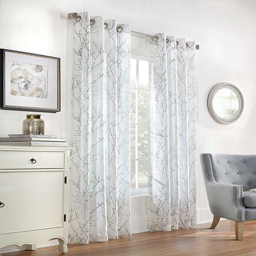 Rideau à oeillets Willow transparent - largeur 132 cm x longueur 274 cm, Blanc