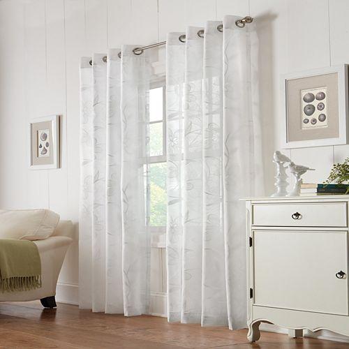 Rideau à oeillets Wildflower transparent - largeur 137 cm x longueur 241 cm, Blanc