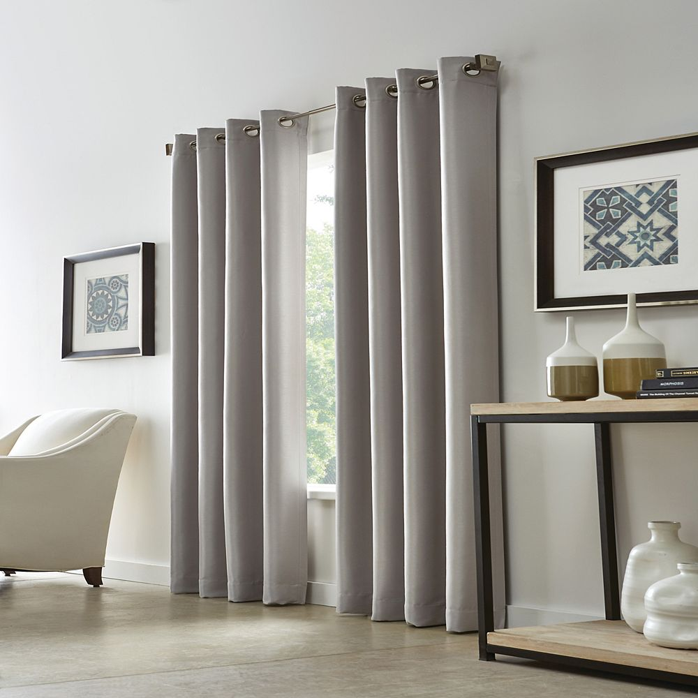 Home Decorators Collection Grace 100% Blackout Grommet Curtain 52 inches width X 108 inches length, Silver Pearl