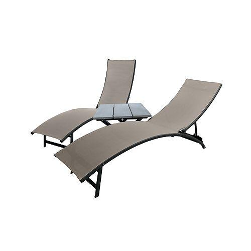 Midtown Lounger 3-Piece Set - Aluminum - Cocoa NEW