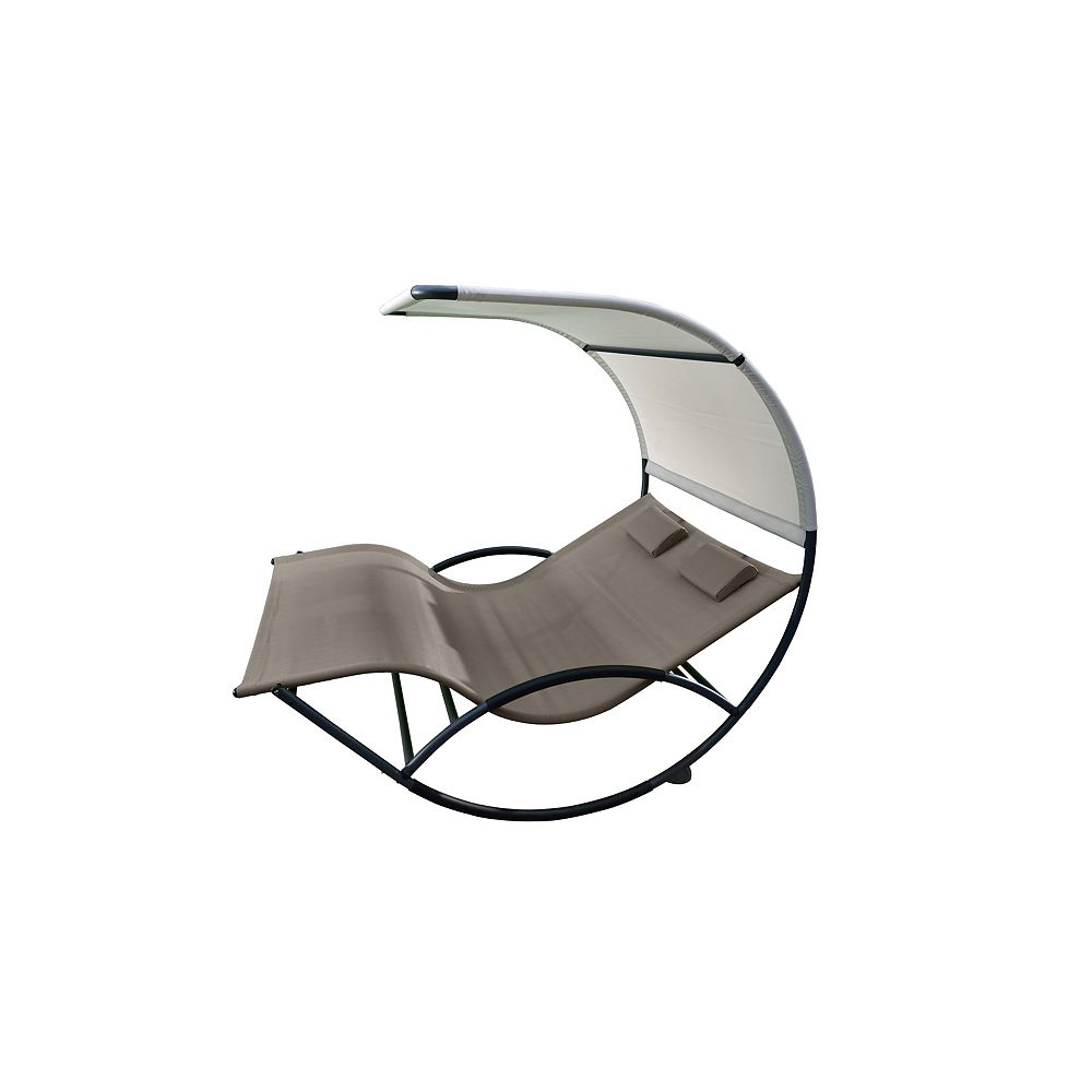 Vivere Double Chaise Rocker - Aluminum - Cocoa NEW