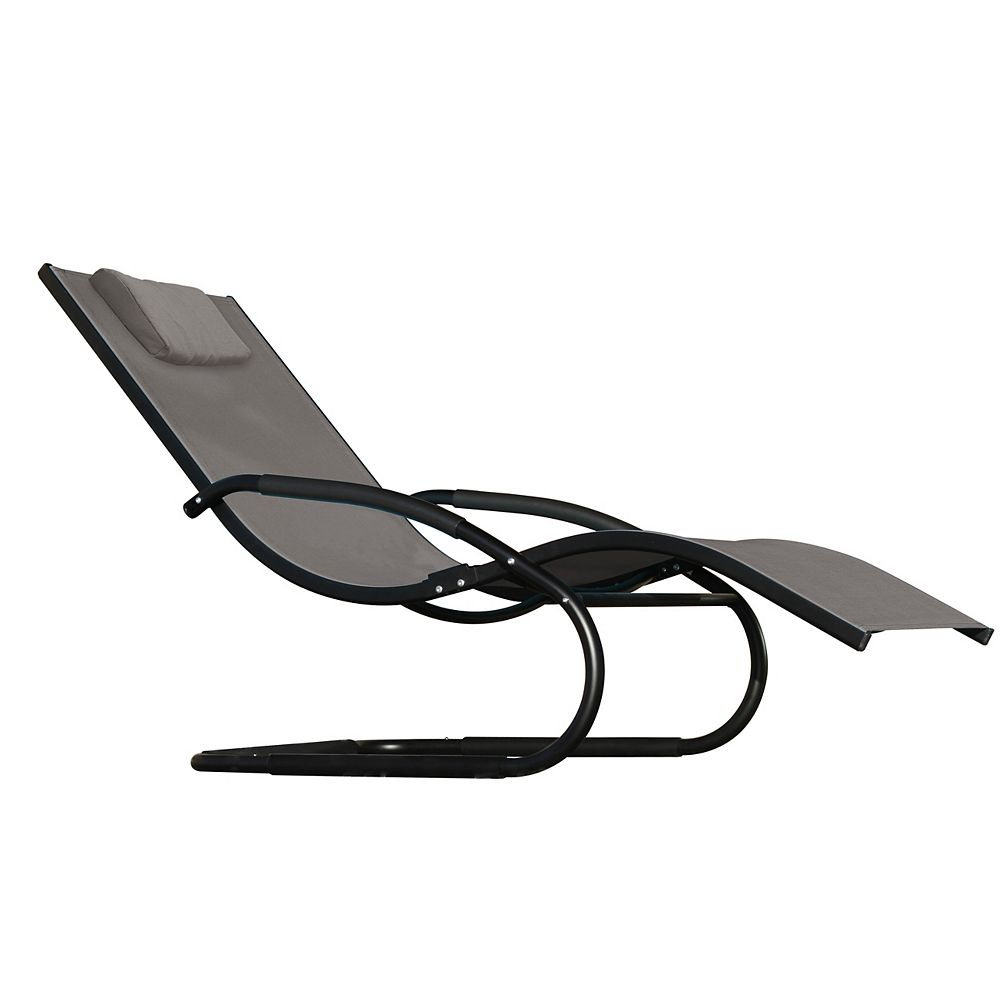 Vivere Wave Lounger - Aluminum - Black Chrome NEW