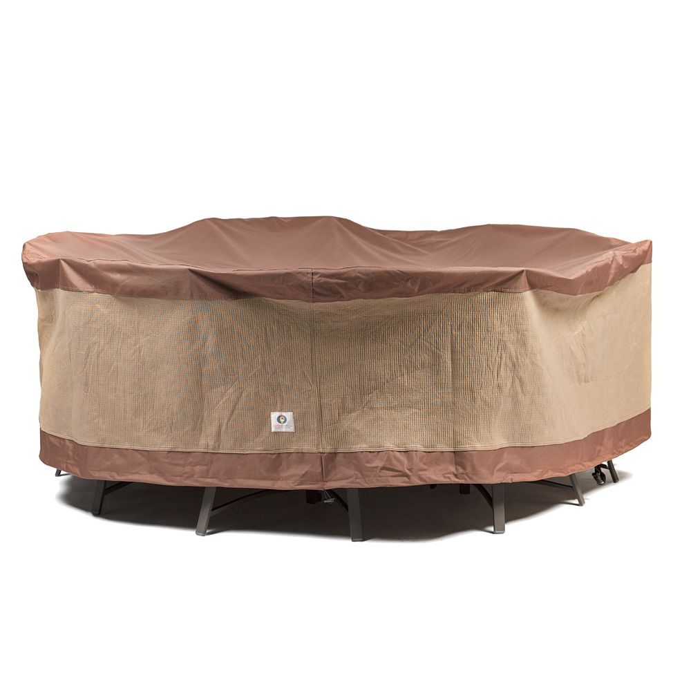 Duck Covers Ultimate 108 in. Round Patio Table with Chairs Cover