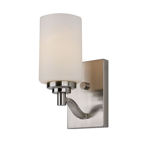 Mod Pod 1-Light Brushed Nickel Wall Sconce with Frosted Glass Shade