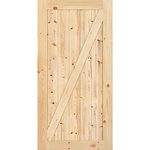 42-inch x 84-inch x 1-3/8-inch Knotty Pine Z Style Barn Door
