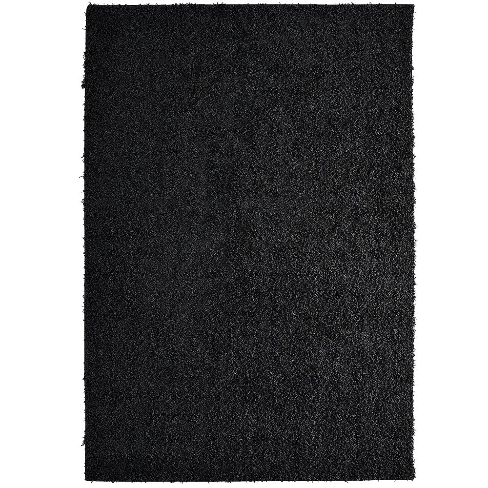 Lanart Rug Comfort Shag Black 4 ft. x 6 ft. Rectangular Area Rug