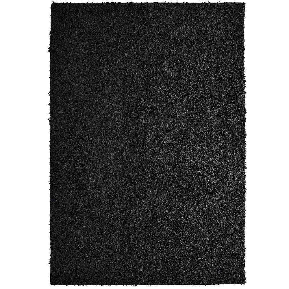 Lanart Rug Comfort Shag Black 5 ft. x 7 ft. Rectangular Area Rug