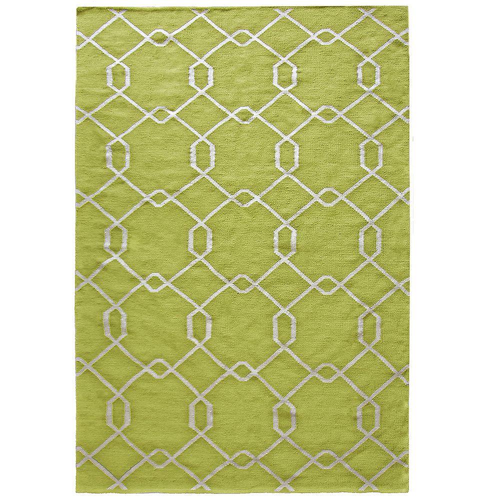 Lanart Rug Carpette, 8 pi x 10 pi, rectangulaire, vert Emma