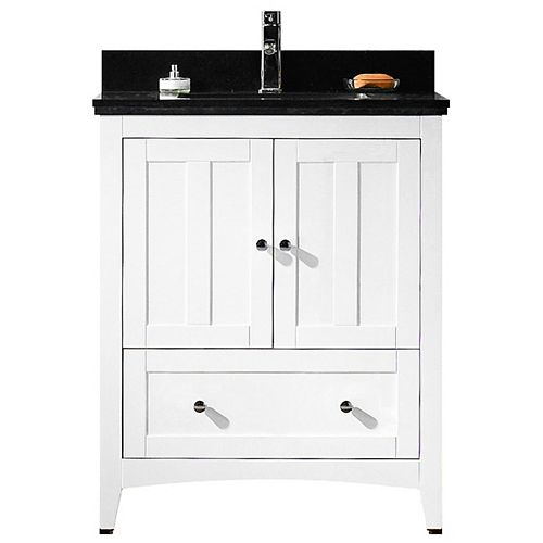 American Imaginations 29.50-inch W 1-Drawer 2-Door Freestanding Vanity in White With Quartz Top in Black