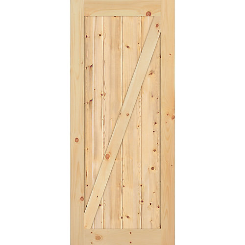 36-inch x 84-inch x 1-3/8-inch Knotty Pine Z Style Barn Door