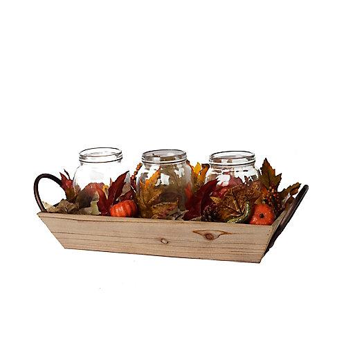 Plateau en bois pour décoration d'automne de centre de table avec pots en verre à DEL
