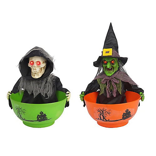 Bols pour bonbons animés à DEL Friandises ou bêtises, 2 modèles variés (Faucheuse et sorcière)