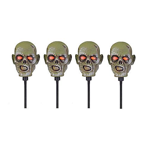 Marqueurs de chemin d'accès à têtes de zombie, ensemble de 4