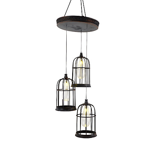 Hanging Cages 3-Light LED Halloween Decoration Pendant Light Fixture with Sound Effects