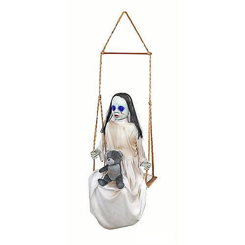 36-inch LED-Lit Animated Swinging Doll Halloween Decoration