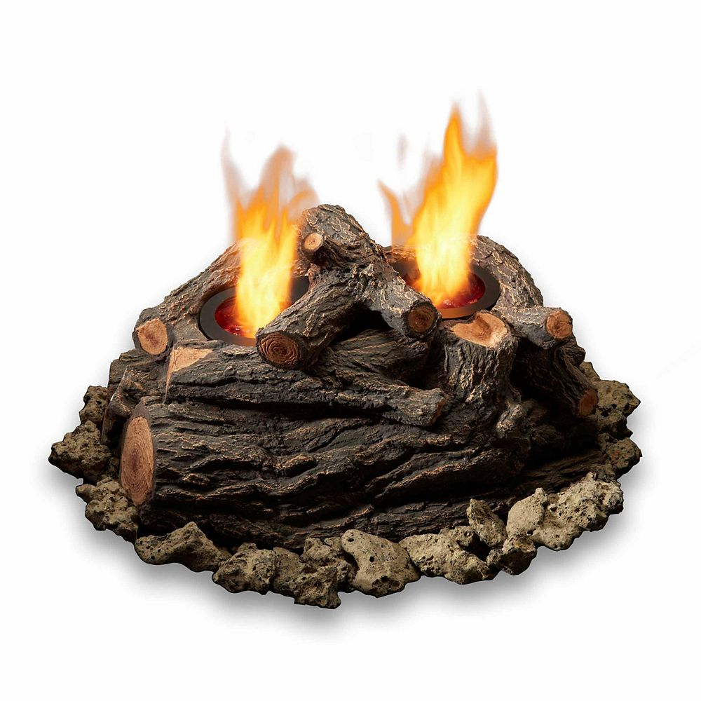Real Flame 15 Inch 2 Can Outdoor Log Set in Oak