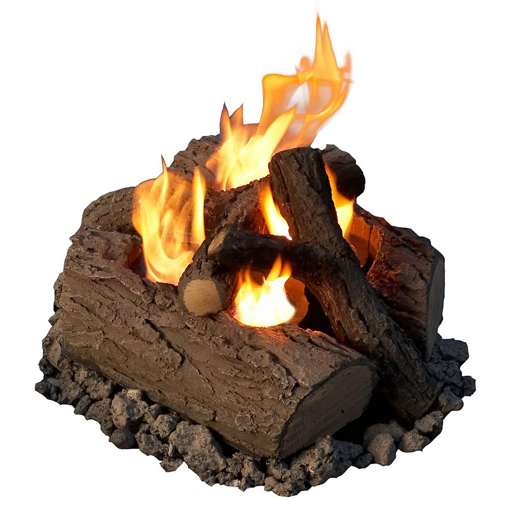Real Flame 17 Inch 4 Can Outdoor Log Set in Oak