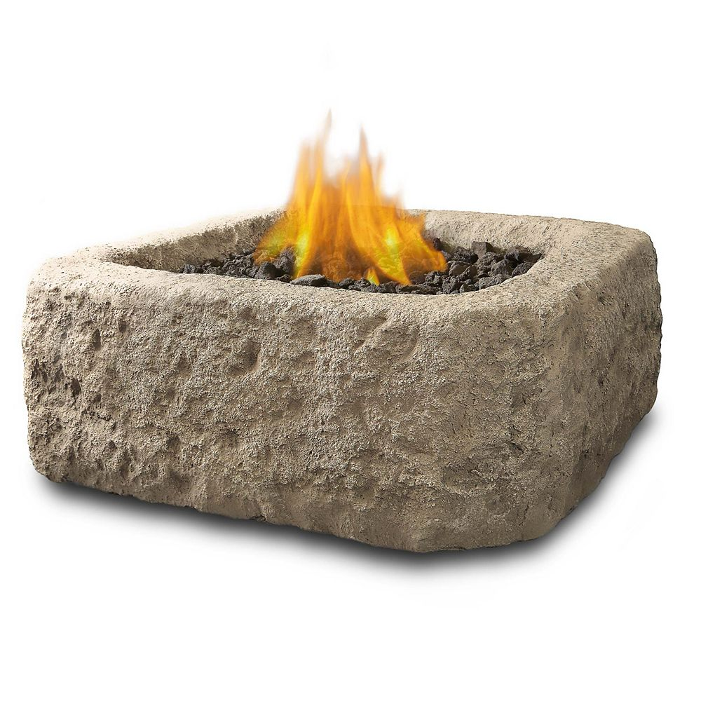Real Flame Antique Stone Square Propane Fire Table