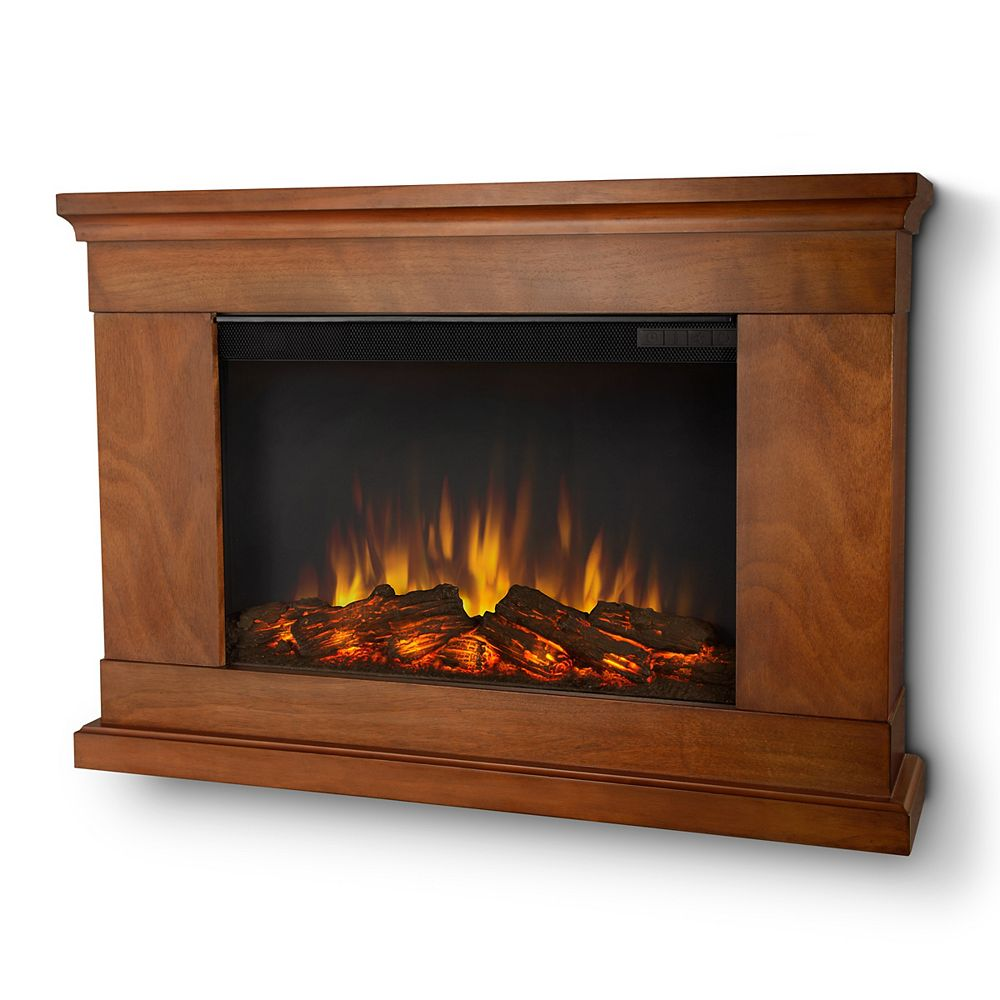 Real Flame Jackson Wall-Mount Slim-Line Electric Fireplace in Pecan