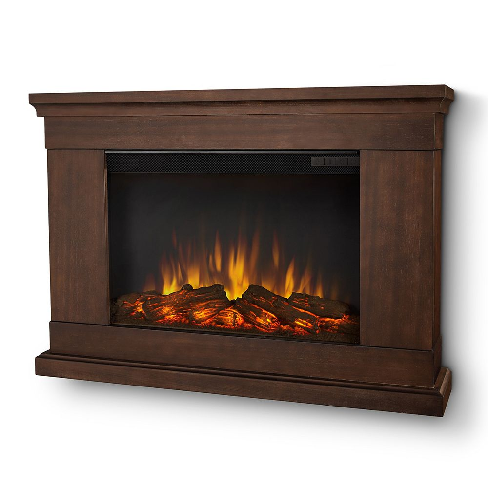 Real Flame Jackson Wall-Mount Slim-Line Electric Fireplace in Vintage Black Maple