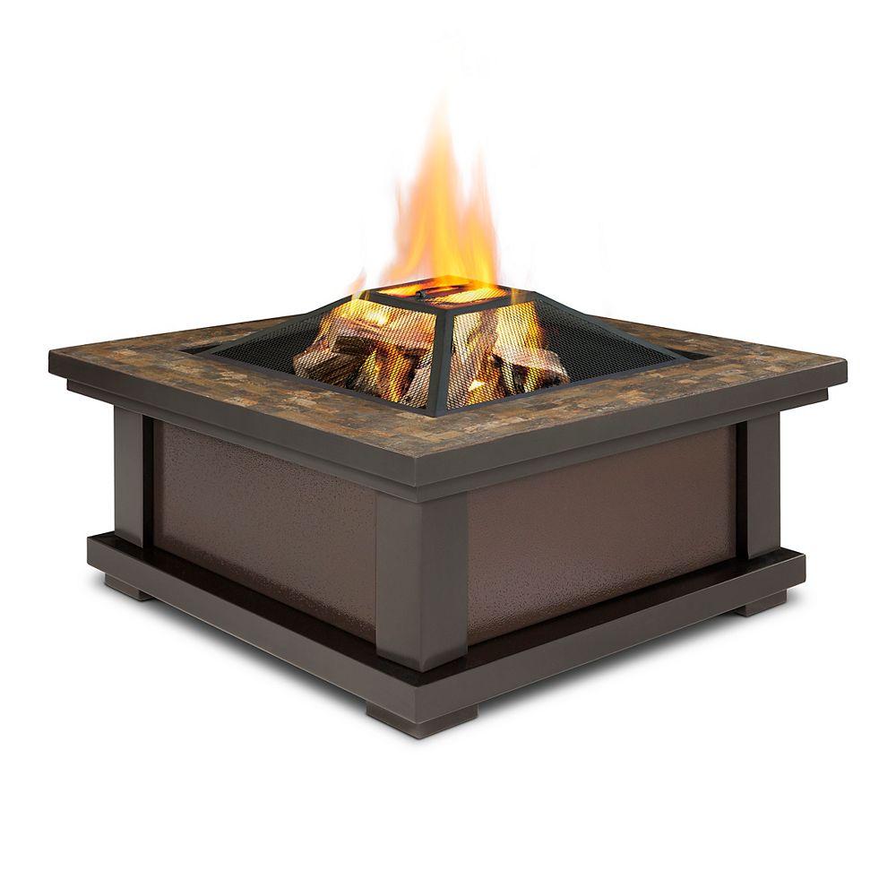 Real Flame Alderwood Steel Framed Wood-Burning Outdoor Fire Pit in Black with Slate Top