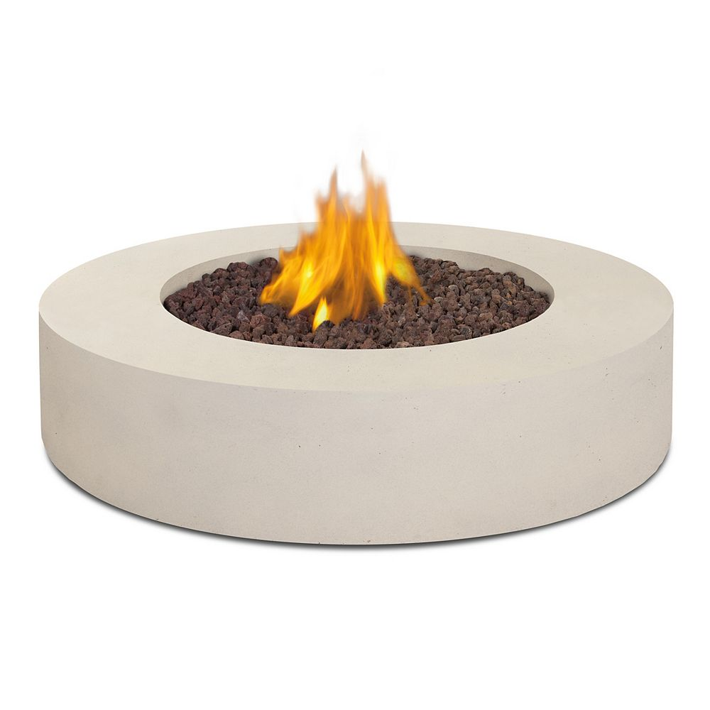Real Flame Mezzo Round Propane Fire Table in Antique White