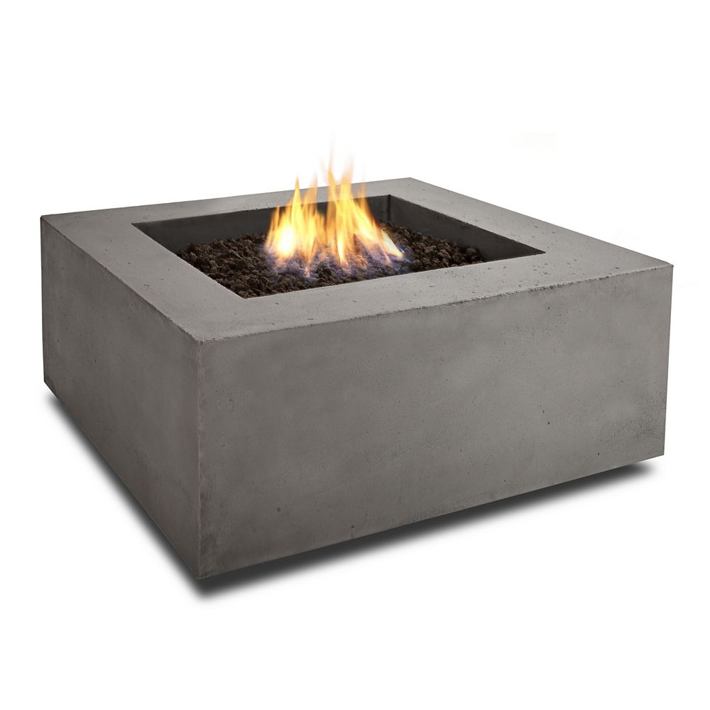 Real Flame Baltic 36-inch Square Natural Gas Fire Table in Glacier Gray