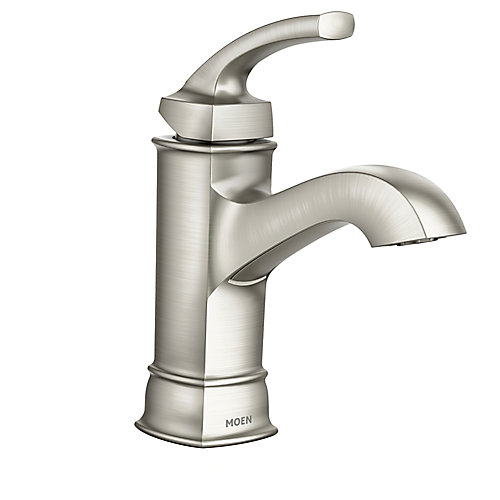 Hensley Single Hole Single-Handle Mid Arc Bathroom Faucet with Lever Handle in Brushed Nickel