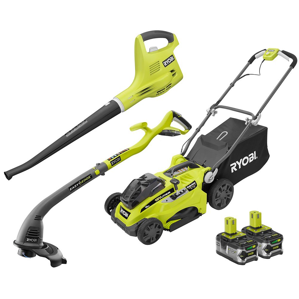 RYOBI 18V ONE+ Mower, Trimmer, and Blower Combo Kit with (2) 4.0 Ah Batteries