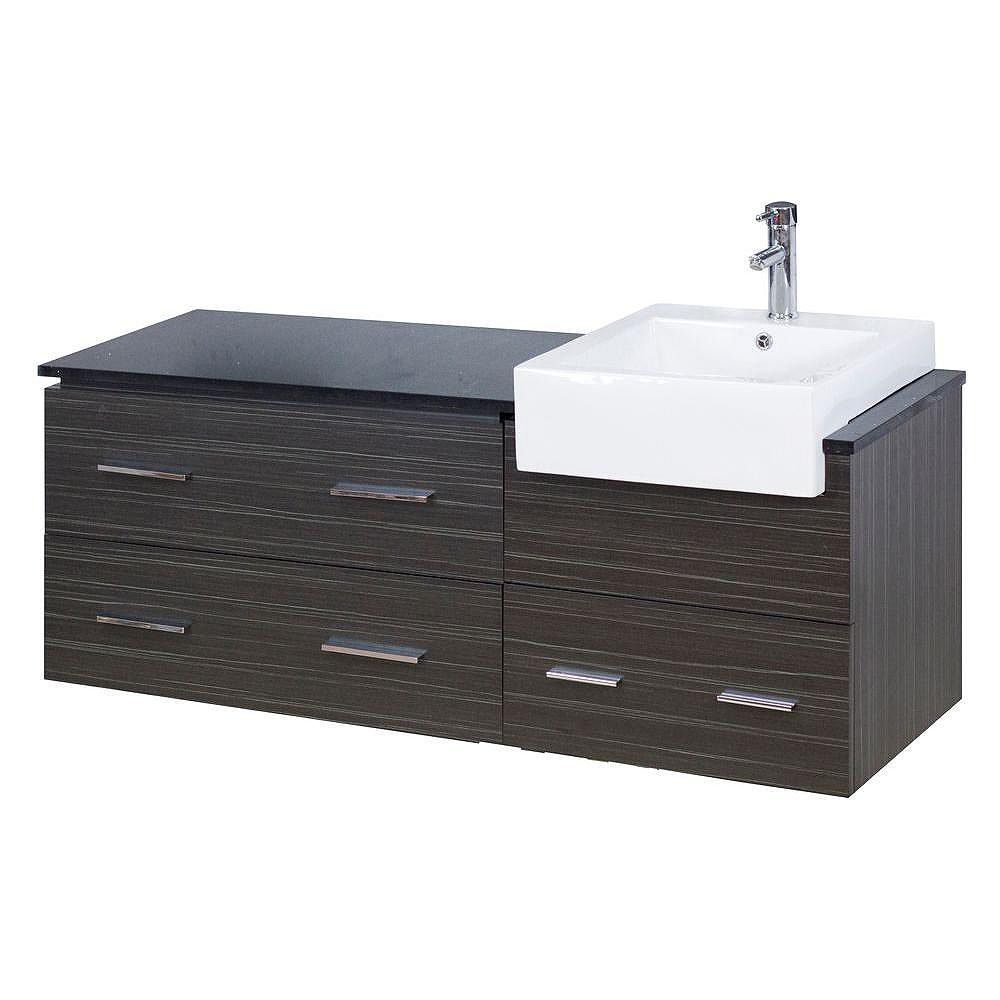 American Imaginations 60-inch W 3-Drawer Wall Mounted Vanity in Grey With Quartz Top in Black