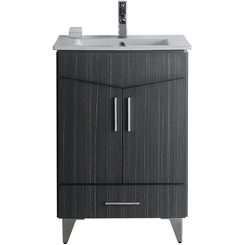 American Imaginations 24-inch W 1-Drawer 2-Door Freestanding Vanity in Grey